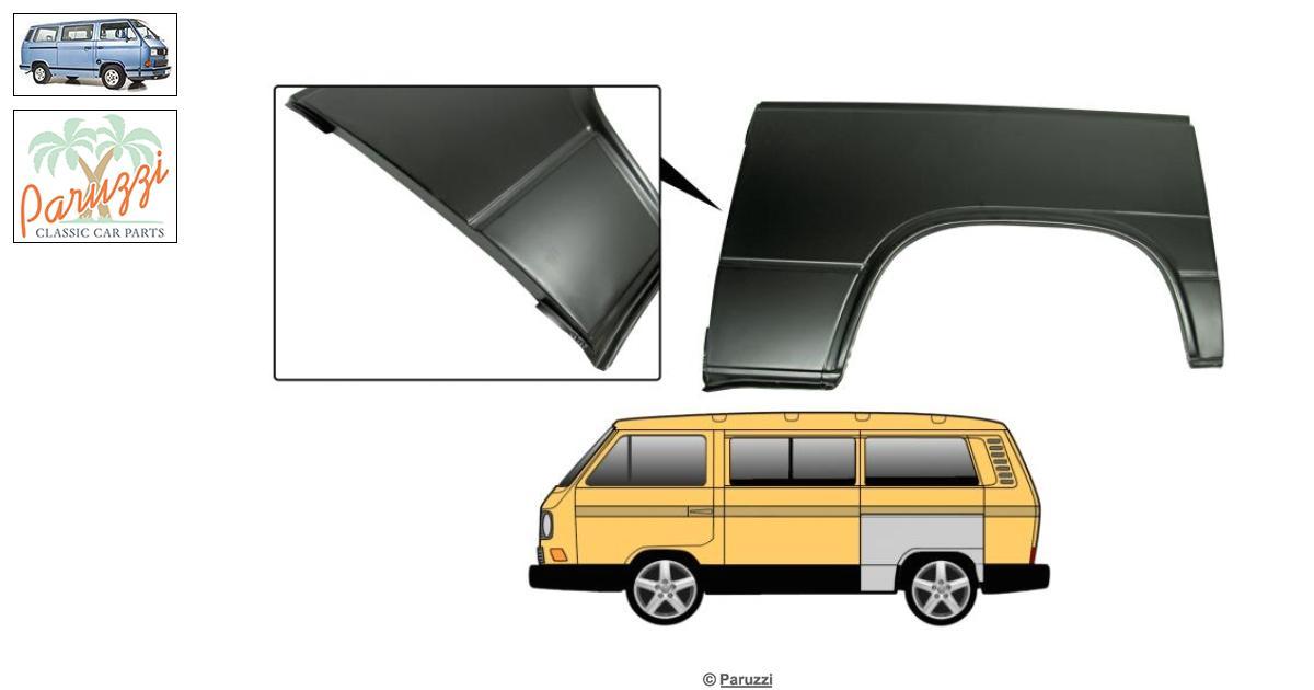 LH VW Beetle T1 tous les modèles /> 79 VOLKSWAGEN gauche Complet Interne Arrière Arc Panneau