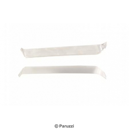 Stainless steel side window vent shades pair.