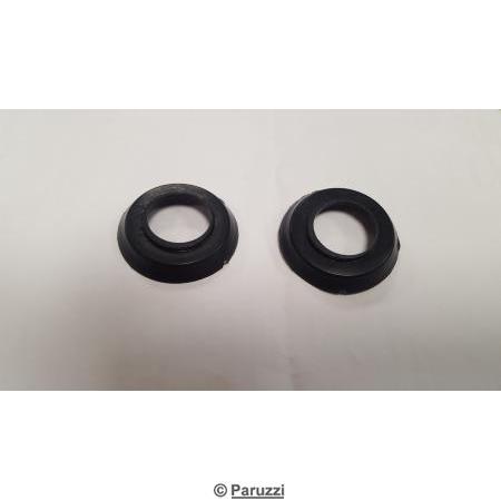 Window or door handle escutcheons black pair.