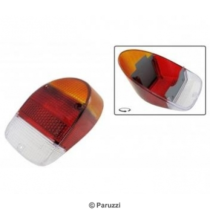 Taillight lens Euro B-Quality amber/red/clear pair.